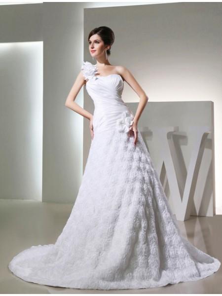 A-Line/Princess Hand-Made Flower Taffeta Sleeveless Cathedral Train One-Shoulder Wedding Dresses