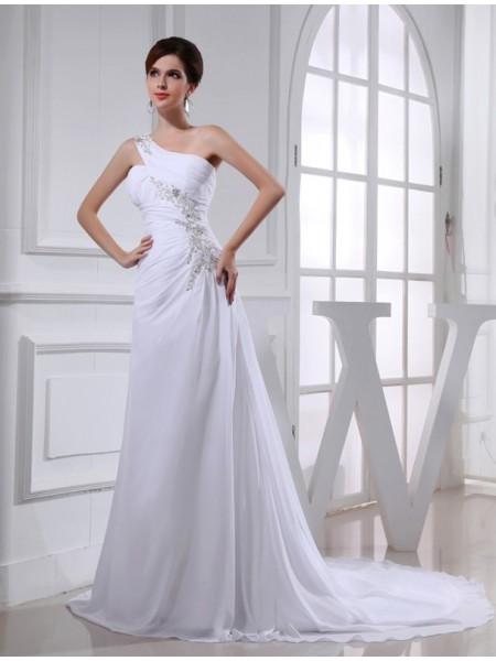 A-Line/Princess Beading Applique Chiffon Sleeveless Court Train One-Shoulder Wedding Dresses