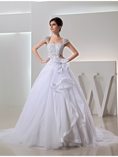Ball Gown Beading Embroidery Bowknot Organza Sleeveless Chapel Train Straps Wedding Dresses