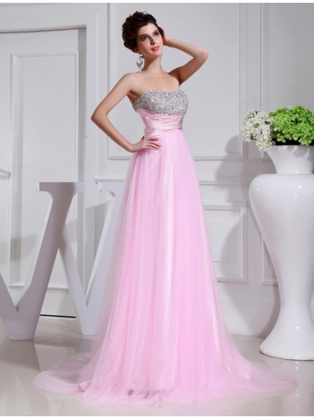 A-Line/Princess Beading Satin Tulle Sleeveless Sweep/Brush Train Strapless Dresses