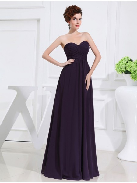 A-Line/Princess Pleats Chiffon Sleeveless Floor-Length Sweetheart Bridesmaid Dresses