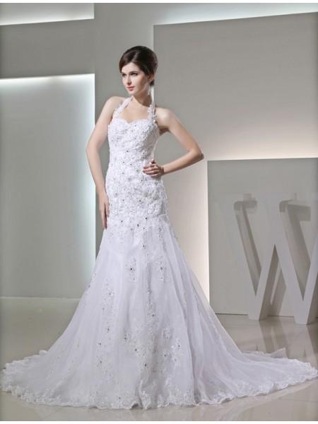 Trumpet/Mermaid Beading Applique Satin Sleeveless Chapel Train Halter Wedding Dresses