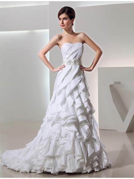 A-Line/Princess Ruffles Beading Taffeta Sleeveless Court Train Sweetheart Wedding Dresses
