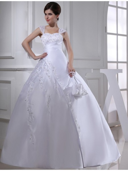 Ball Gown Beading Embroidery Satin Sleeveless Court Train Straps Wedding Dresses