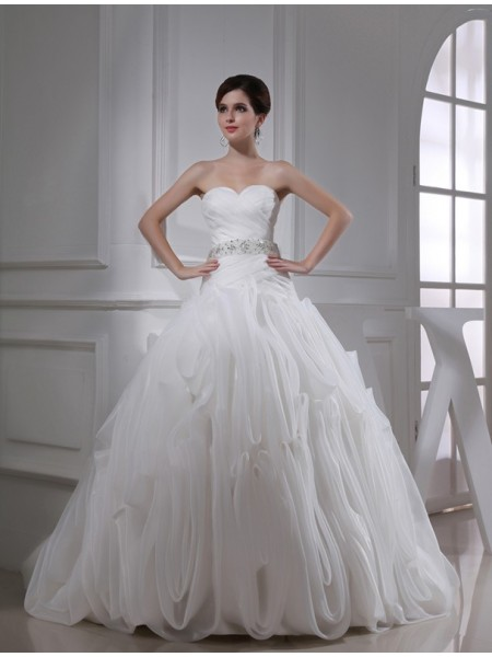 Ball Gown Beading Organza Sleeveless Court Train Sweetheart Wedding Dresses