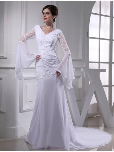 Trumpet/Mermaid Beading Embroidery Chiffon Long Sleeves Chapel Train V-neck Wedding Dresses