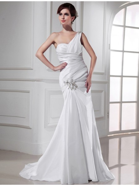 Trumpet/Mermaid Beading Applique Satin Sleeveless Sweep/Brush Train One-Shoulder Wedding Dresses