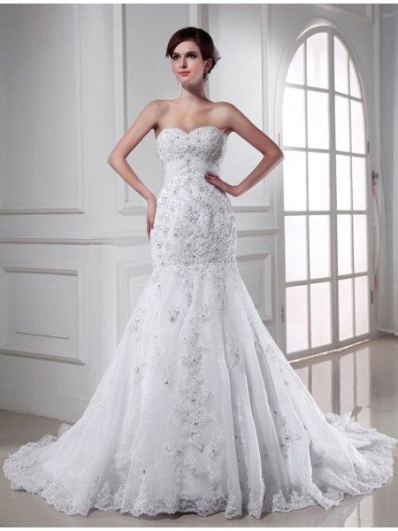 Trumpet/Mermaid Beading Applique Organza Sleeveless Chapel Train Sweetheart Wedding Dresses