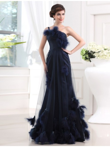 Trumpet/Mermaid Feathers/Fur Satin Tulle Sleeveless Floor-Length One-Shoulder Dresses