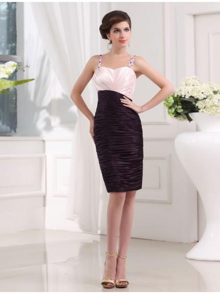 Sheath/Column Beading Applique Elastic Woven Satin Sleeveless Knee-Length Straps Bridesmaid Dresses