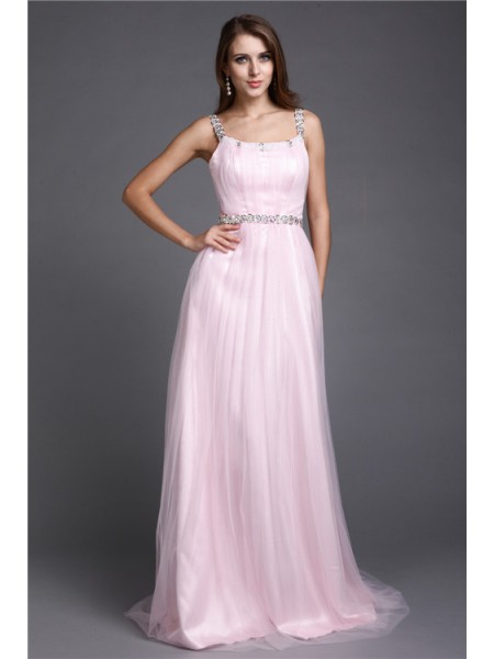 A-Line/Princess Rhinestone Net Sleeveless Floor-Length Spaghetti Straps Dresses