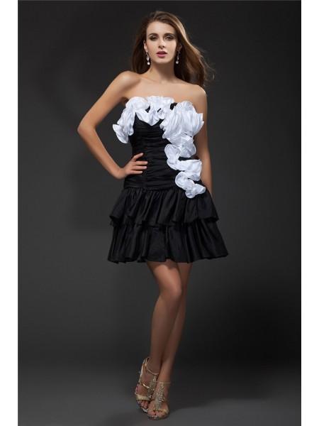A-Line/Princess Ruffles Hand-Made Flower Taffeta Sleeveless Short/Mini Strapless Short Cocktail Dresses
