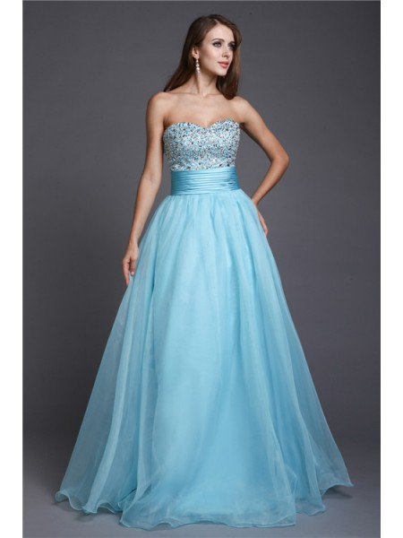 A-Line/Princess Beading Organza Sleeveless Floor-Length Sweetheart Dresses