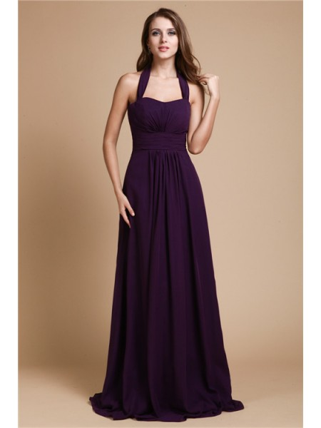 A-Line/Princess Ruffles Chiffon Sleeveless Floor-Length Halter Bridesmaid Dresses