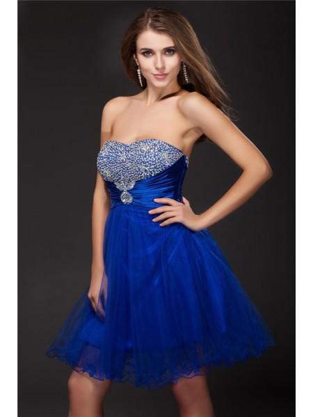 A-Line/Princess Beading Elastic Woven Satin Net Sleeveless Short/Mini Strapless Short Cocktail Dresses