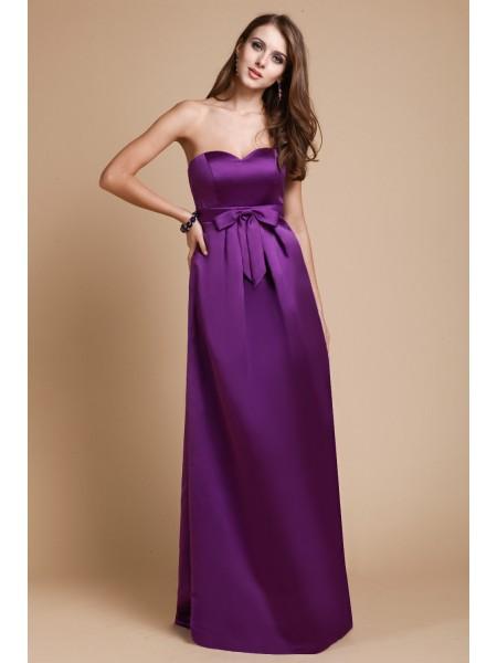 Sheath/Column Bowknot Elastic Woven Satin Sleeveless Floor-Length Sweetheart Bridesmaid Dresses