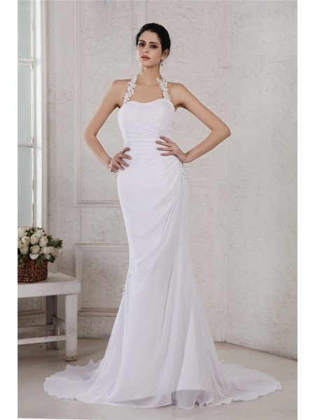 Trumpet/Mermaid Beading Applique Chiffon Sleeveless Court Train Halter Wedding Dresses