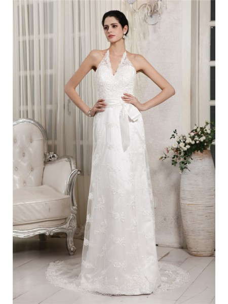 Sheath/Column Applique Lace Net Lace Sleeveless Sweep/Brush Train V-neck Wedding Dresses