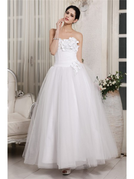 Ball Gown Beading Organza Sleeveless Ankle-Length Sweetheart Wedding Dresses