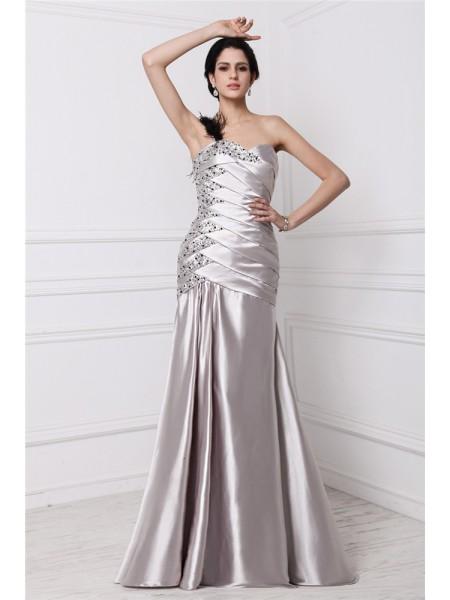 A-Line/Princess Pleats Beading Elastic Woven Satin Sleeveless Floor-Length Sweetheart Dresses