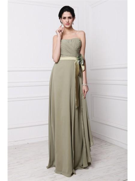 Sheath/Column Pleats Hand-Made Flower Chiffon Sleeveless Floor-Length Strapless Bridesmaid Dresses
