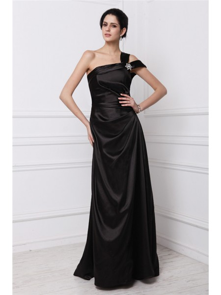 Sheath/Column Beading Elastic Woven Satin Sleeveless Floor-Length One-Shoulder Dresses