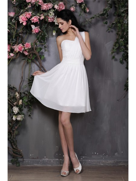 A-Line/Princess Pleats Chiffon Sleeveless Short/Mini One-Shoulder Bridesmaid Dresses