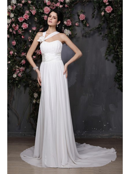 Sheath/Column Pleats Hand-Made Flower Chiffon Sleeveless Chapel Train Halter Wedding Dresses
