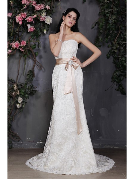 Sheath/Column Sash/Ribbon/Belt Lace Sleeveless Court Train Strapless Wedding Dresses