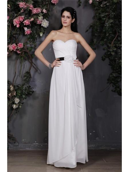 Sheath/Column Pleats Hand-Made Flower Chiffon Sleeveless Floor-Length Sweetheart Bridesmaid Dresses