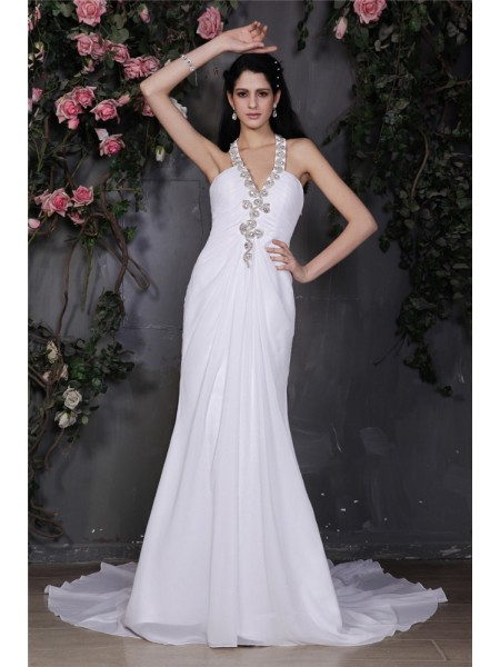 Sheath/Column Ruffles Beading Chiffon Sleeveless Court Train Halter Wedding Dresses