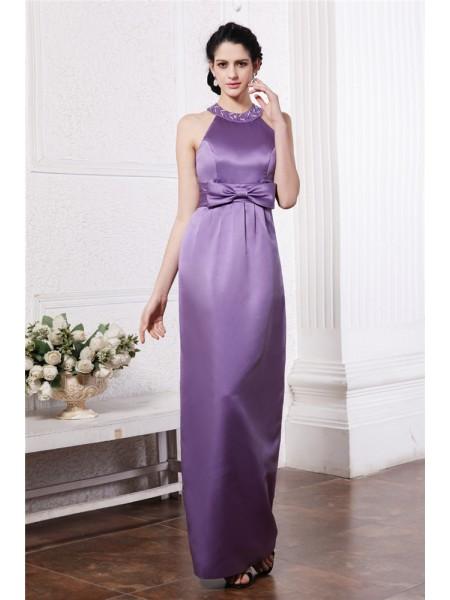 Sheath/Column Beading Bowknot Elastic Woven Satin Sleeveless Floor-Length Scoop Bridesmaid Dresses