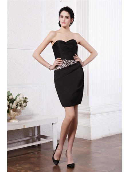 Sheath/Column Pleats Beading Chiffon Sleeveless Short/Mini Sweetheart Short Cocktail Dresses