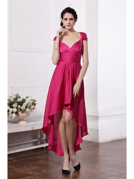 Sheath/Column Pleats Chiffon Sleeveless Asymmetrical Straps Cocktail Dresses