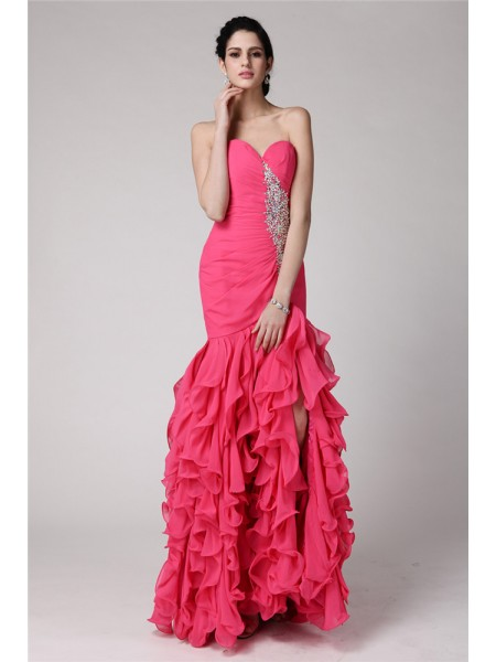 Trumpet/Mermaid Ruffles Beading Chiffon Sleeveless Floor-Length Sweetheart Dresses
