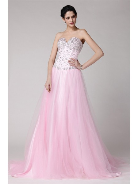 A-Line/Princess Beading Elastic Woven Satin Net Sleeveless Sweep/Brush Train Sweetheart Dresses