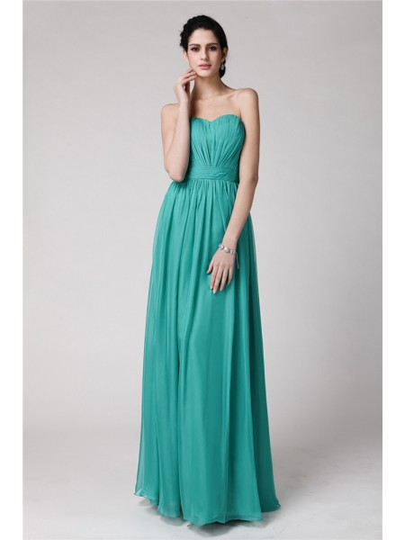 Sheath/Column Pleats Chiffon Sleeveless Floor-Length Sweetheart Bridesmaid Dresses