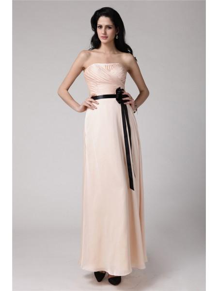Sheath/Column Sash/Ribbon/Belt Chiffon Elastic Woven Satin Sleeveless Ankle-Length Strapless Bridesmaid Dresses