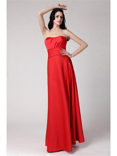 A-Line/Princess Pleats Elastic Woven Satin Sleeveless Floor-Length Strapless Bridesmaid Dresses
