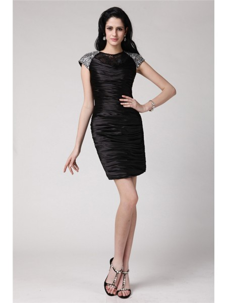 Sheath/Column Beading Lace Elastic Woven Satin Short Sleeves Short/Mini Scoop Short Cocktail Dresses