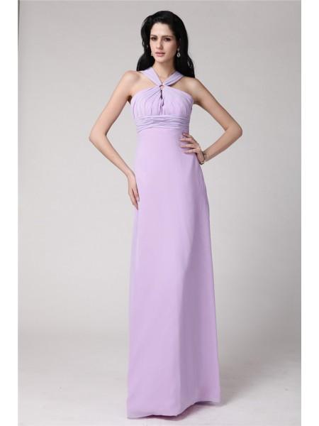 Sheath/Column Pleats Chiffon Sleeveless Floor-Length High Neck Bridesmaid Dresses