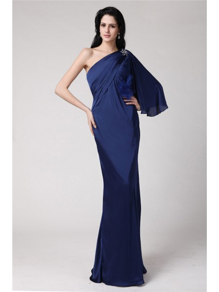 Trumpet/Mermaid Feathers/Fur Chiffon Sleeveless Floor-Length One-Shoulder Dresses