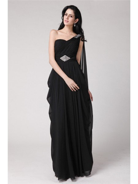 Sheath/Column Beading Chiffon Sleeveless Floor-Length One-Shoulder Dresses