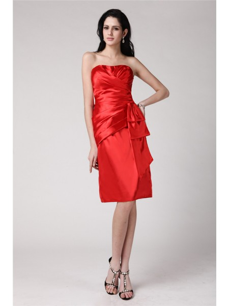 Sheath/Column Pleats Elastic Woven Satin Sleeveless Knee-Length Strapless Short Cocktail Dresses
