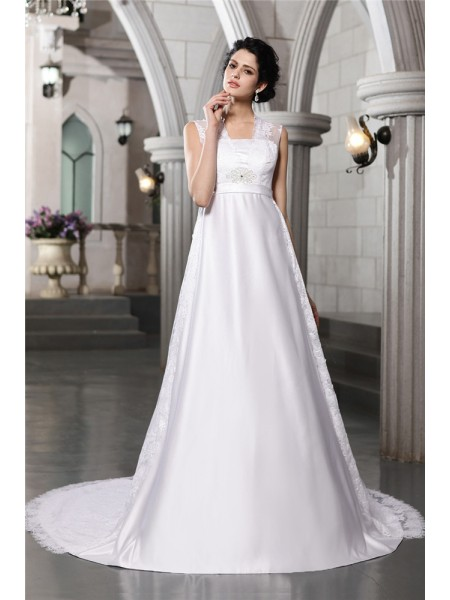 A-Line/Princess Lace Satin Sleeveless Cathedral Train Straps Wedding Dresses
