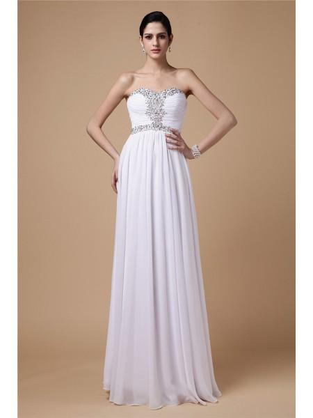 Sheath/Column Pleats Beading Chiffon Sleeveless Floor-Length Strapless Dresses