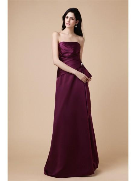 A-Line/Princess Pleats Beading Satin Sleeveless Floor-Length Strapless Dresses
