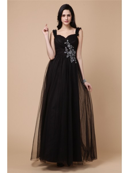 A-Line/Princess Beading Applique Net Sleeveless Ankle-Length Straps Dresses