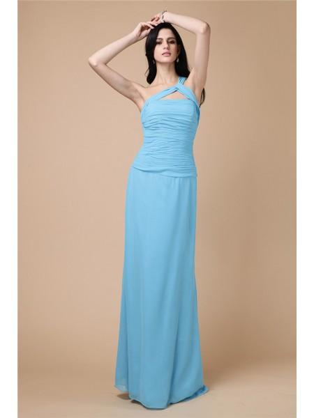 Sheath/Column Pleats Chiffon Sleeveless Floor-Length One-Shoulder Dresses