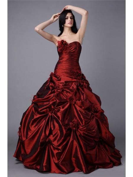 Ball Gown Hand-Made Flower Taffeta Sleeveless Floor-Length Strapless Dresses